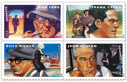 Stamps depicting Frank Capra, John Huston, John Ford, and Billy Wilder