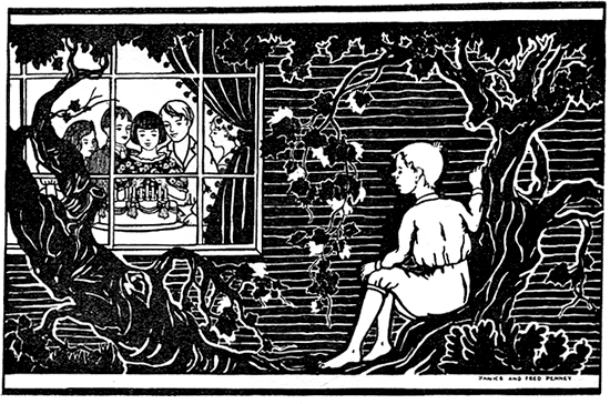 An etching of a boy sitting in a tree looking through a window at a birthday party