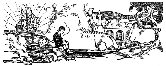 A boy sits on a rock, images from his imagination surrounding him