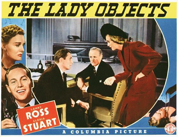 A movie poster of THE LADY OBJECTS, 1938