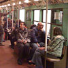 Interior of vintage subway car